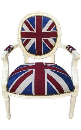 """Fauteuil Louis XVI de style baroque tissu """"Union Jack"""" et bois beige"""