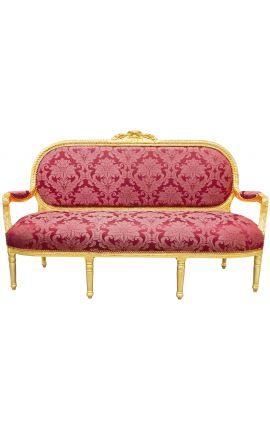 """Canapé de style Louis XVI satiné rouge aux motifs """"Gobelins"""" et bois doré"""