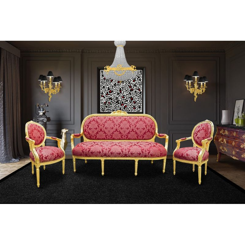 canap de style louis xvi satin rouge aux motifs gobelins bois dor. Black Bedroom Furniture Sets. Home Design Ideas