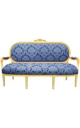 """Canapé de style Louis XVI satiné bleu aux motifs """"Gobelins"""" et bois doré"""