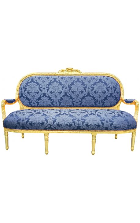 "Louis XVI style sofa in blue satin with ""Gobelins"" with gilded wood"