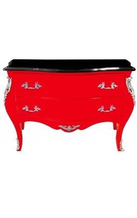 Commode baroque de style Louis XV rouge et plateau noir avec 2 tiroirs
