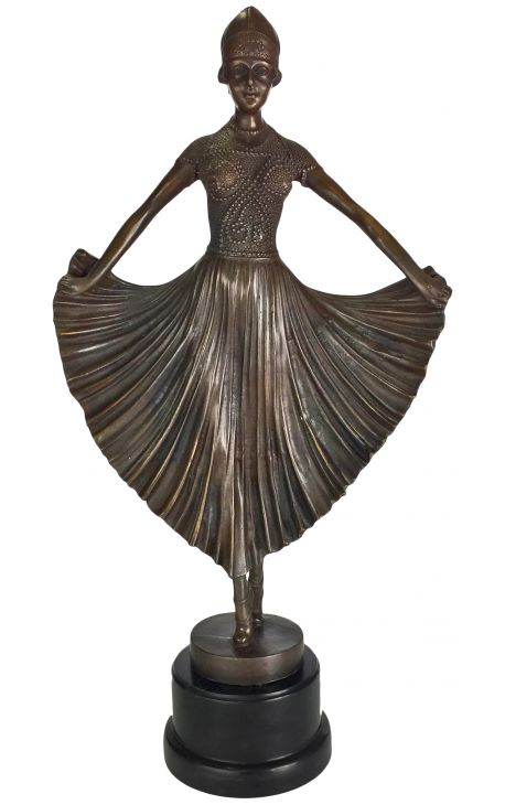 grande sculpture en bronze danseuse art deco. Black Bedroom Furniture Sets. Home Design Ideas