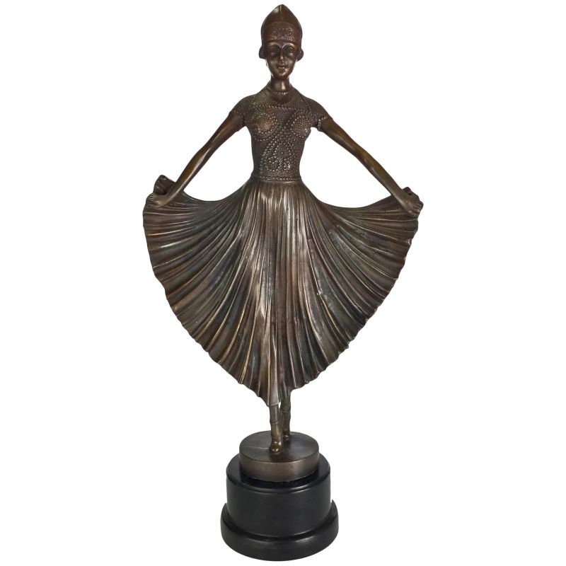 large bronze sculpture dancer art deco. Black Bedroom Furniture Sets. Home Design Ideas