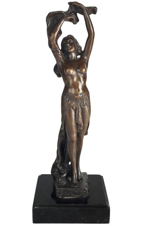 """Sculpture en bronze et socle en marbre """"Danseuse Art-Deco"""""""