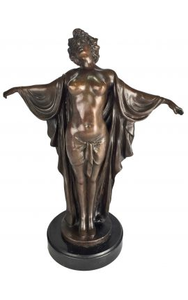 "Sculpture in bronze and marble base, ""Woman with arms outstretched"""