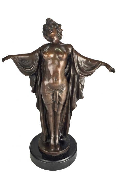 """Sculpture en bronze et socle en marbre, """"Femme avec bras étendus"""""""