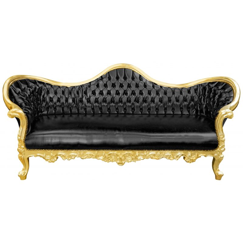 Baroque Napoleon Iii Sofa Black Leatherette And Gold Wood