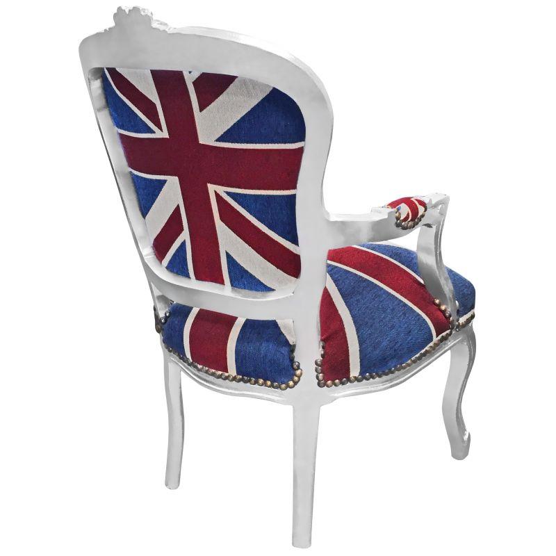 fauteuil baroque de style louis xv union jack et bois argent. Black Bedroom Furniture Sets. Home Design Ideas