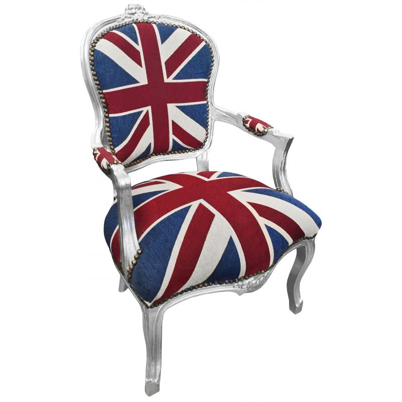 fauteuil baroque de style louis xv union jack et bois argent. Black Bedroom Furniture Sets. Home Design Ideas