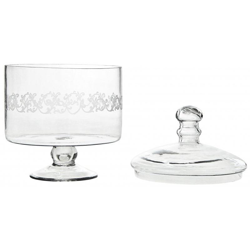 Set Of 2 Engraved Glass Cookie Jars