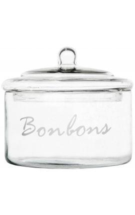 """Bocal à bonbons en verre avec couvercle """"Bonbons"""""""