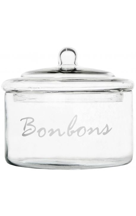 "Glass candy jar with lid ""Bonbons"""