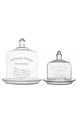 "Set of 2 glass dome for cakes ""Les meilleures patisseries"""