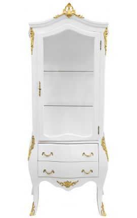 Baroque display cabinet gilded bronze with white lacquer