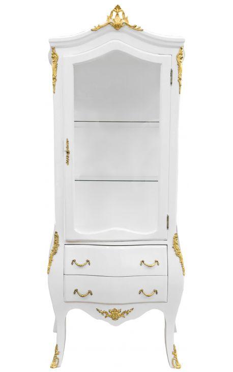 Vitrine baroque laqué blanc avec bronzes dorés