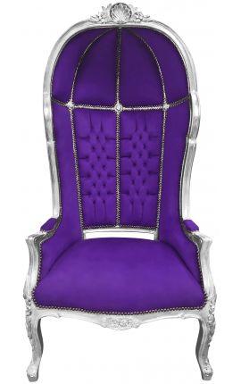 Grand fauteuil carrosse de style baroque tissu velours mauve et bois argent
