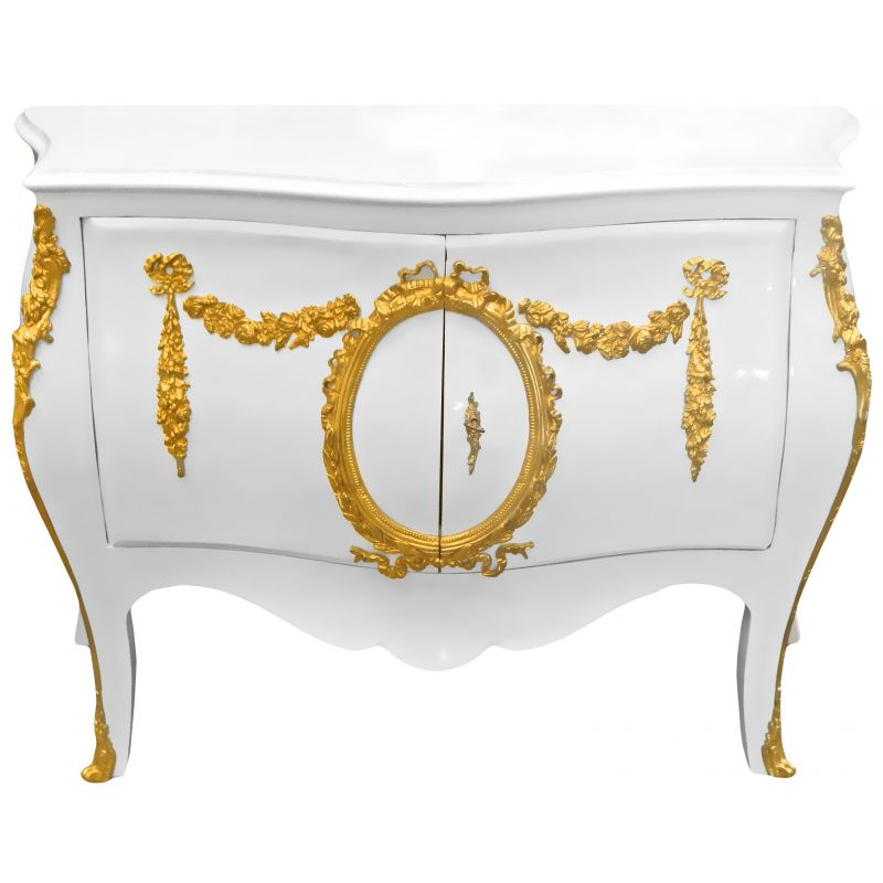 Commode buffet baroque italienne style louis xiv blanche bronzes dor s - Buffet baroque blanc ...