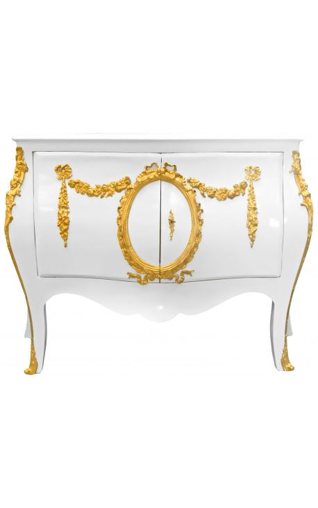 Commode buffet baroque style of Louis XV white with gold bronzes