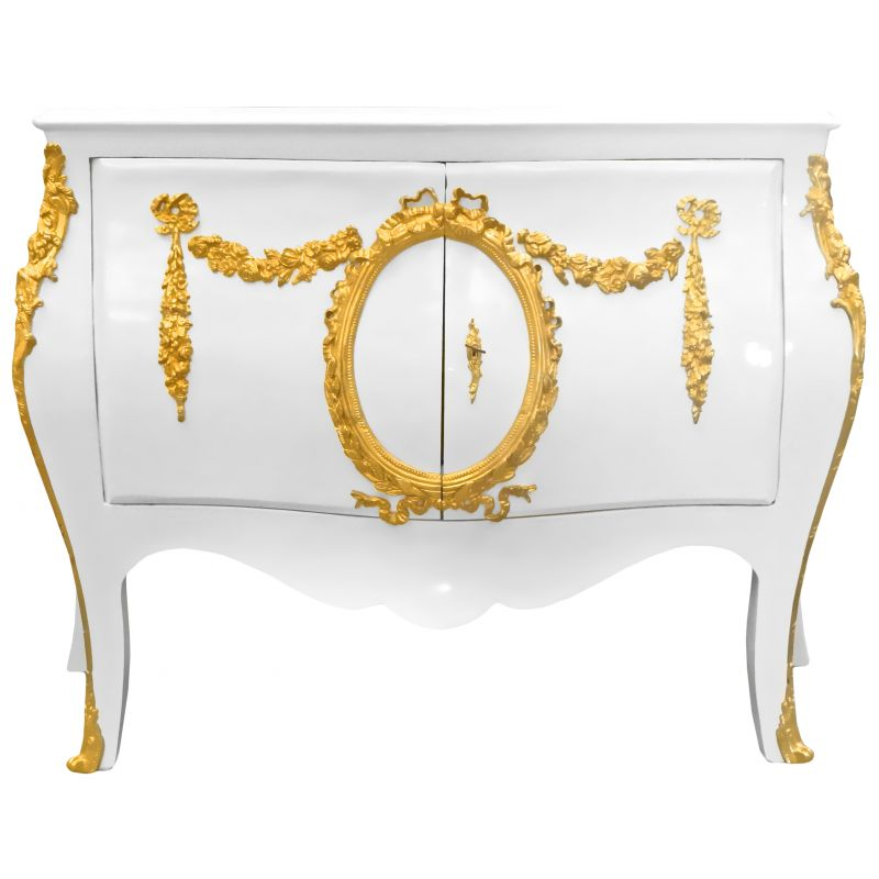 commode buffet baroque style of louis xv white with gold bronzes. Black Bedroom Furniture Sets. Home Design Ideas