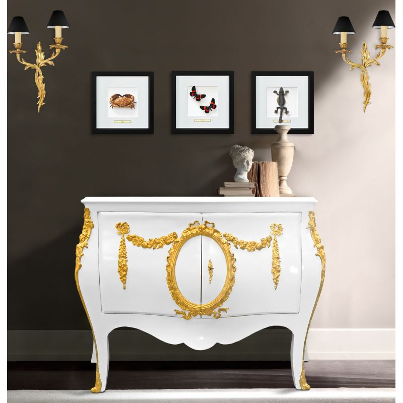 Commode Buffet Baroque Style Of Louis Xv White With Gold