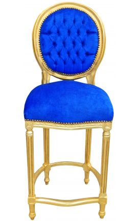 Bar chair Louis XVI style blue velvet fabric and gold wood