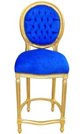 Chaise de bar de style Louis XVI à pompon, velours bleu et bois doré