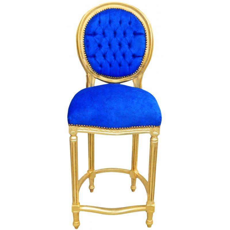 chaise de bar de style louis xvi pompon velours bleu et bois dor. Black Bedroom Furniture Sets. Home Design Ideas