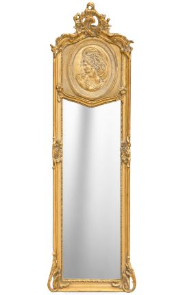 Mirror psyche Louis XVI style gilt with female profile