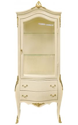 Baroque display cabinet beige with gold bronzes