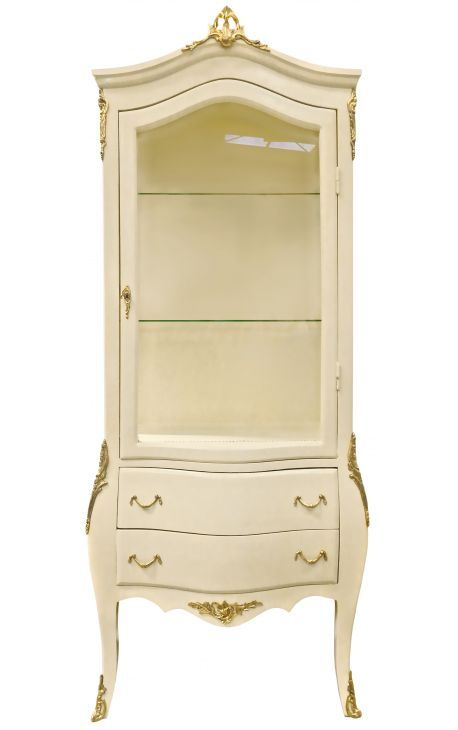 Барочный шкаф бежевый с золотыми бронзами