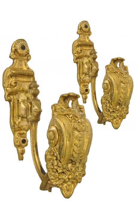 """Paire de porte-embrasse en bronze """"Décor multiple"""""""