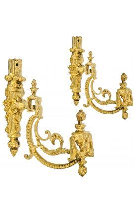 """Paire de porte-embrasse en bronze """"Carquois et rubans"""""""