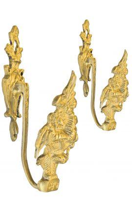 """Paire de porte-embrasse en bronze """"Bouquet de fleurs"""""""