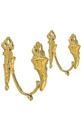 """Paire de porte-embrasse en bronze """"Vase et rubans"""""""