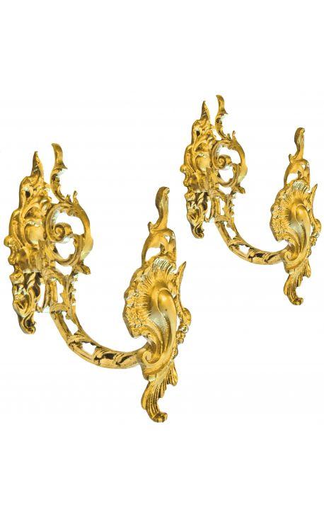 """Paire de porte-embrasse en bronze """"Rinceaux et rocaille"""""""