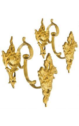 """Paire de porte-embrasse en bronze """"Bouquet et acanthes"""""""