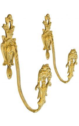 """Pair of bronze curtain holder """"Flower urn"""""""