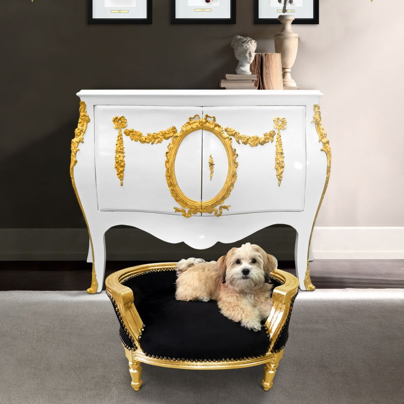 Baroque Sofa Bed For Dog Or Cat Black And Gold Wood
