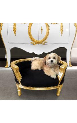 Барокко диван-кровать для собаки или кошки черного бархата и золотой древесины