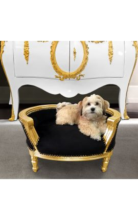 Canapé lit pour chien ou chat baroque velours noir et bois doré