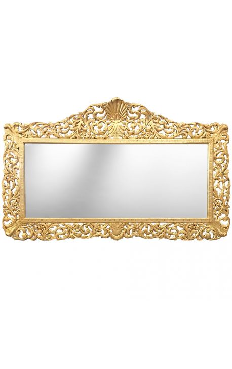 Enorme miroir de style baroque en bois dor for Miroir baroque dore