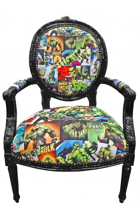 Baroque armchair Louis XVI style medallion leather Comics style decor and black wood