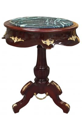 Empire style round table in mahogany, bronze and green marble