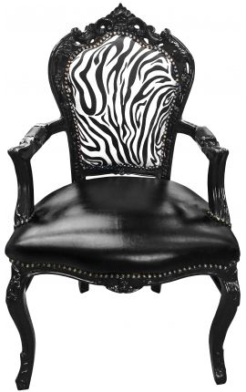 Armchair Baroque Rococo style chair zebra and black leatherette with glossy black wood