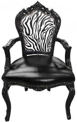 Кресло в стиле барокко рококо кресло зебры и черный эпидермис с черной лакированной древесины