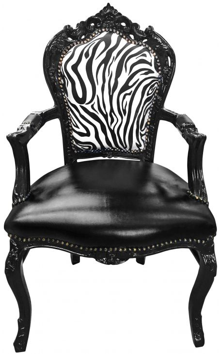 Armchair Baroque Rococo style chair zebra and black false skin with black lacquered wood