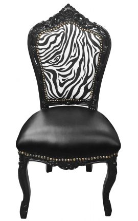 Baroque rococo style chair zebra and black false skin with black lacquered wood