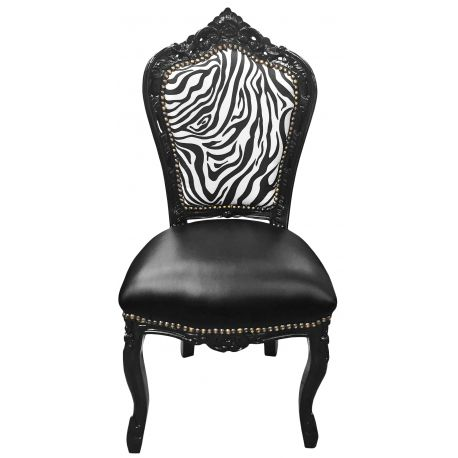 chaise de style baroque rococo simili cuir noir dossier z bre et bois noir. Black Bedroom Furniture Sets. Home Design Ideas