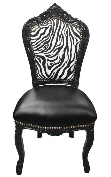 Chaise de style Baroque Rococo simili cuir noir, dossier zèbre et bois noir